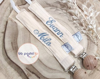 Personalized nipple attachment in organic cotton, embroidered name, pacifier attachment, fabric susu hanger