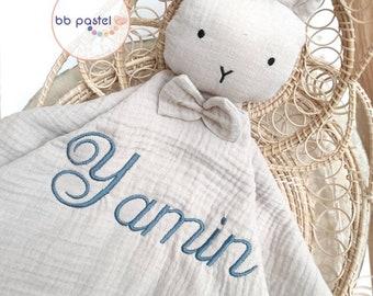 Doudou rabbit beige in personalized organic cotton / organic / doudou lange / embroidered name / triple cotton gauze /