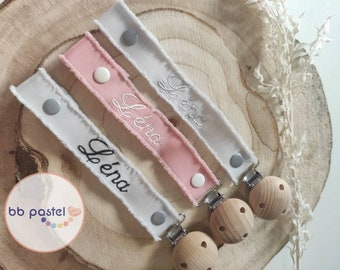 Custom nipple attachment with embroidered first name. Cloth lollipop attachment, birth box, baby gift