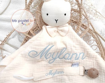 Personalized cream rabbit blanket box + personalized cotton nipple attachment / first name embroidery / organic cotton