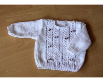white sweater size 74 hand knitted with braid pattern