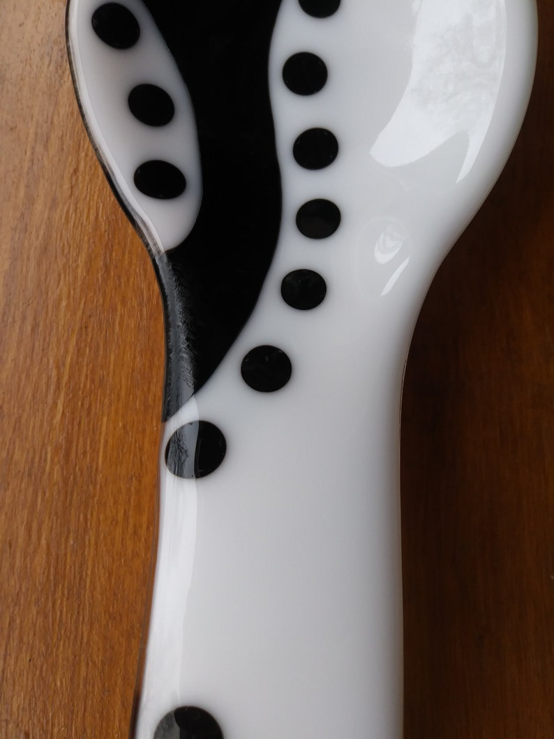 Fused glass black /& white spoon rest