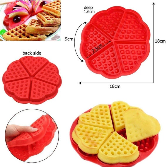 Red Non Stick Food Grade Silicone Waffle Shape Cavity Pancake Mould Tray Cooking Birthday Accessory Party Kitchen Supplies 5 Slot