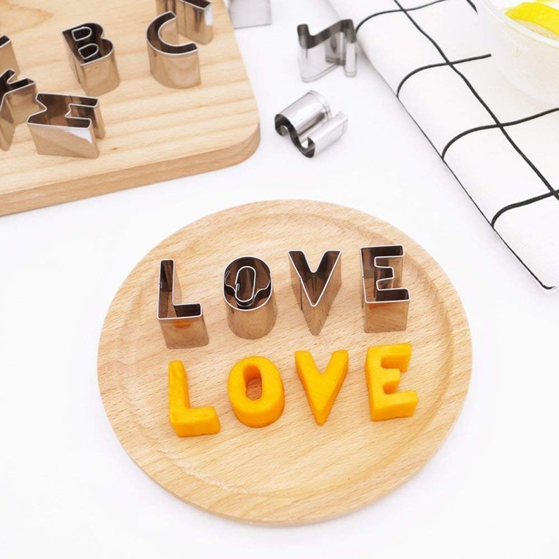 Kids Mini Biscuit Stamper Cooking Stampers Birthday Baking Supplies Party Moulds Letter Mould Letters Set of 26 Alphabet Cookie Cutters