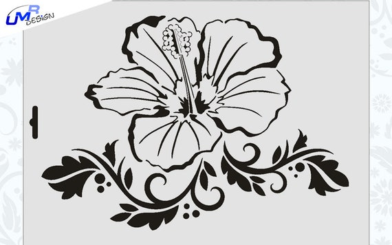 Wandschablone Maler T-shirt Schablone W-376 Vintage Hibiskus ~ UMR Design