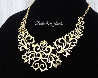 dfcad7602debc Gold statement necklace | Etsy