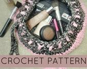 Crochet Pattern//Flat Crochet Make-Up// Crochet Drawstring Bag// Makeup Storage (PATTERN) PDF Instant Download