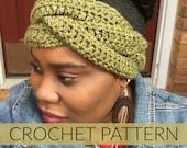 Crochet Braided Headband//Crochet Headband// Crochet Ear Warmer //Crochet Emerald Headband (PATTERN) pdf Instant Download
