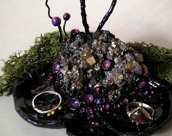 Dark Graveyard Hill [pyrite crystal] with jewelry dish  -  crystal decoration, boho eclectic figurine