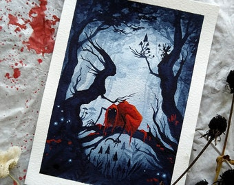 Red Dark Riding Hood -3- original watercolor painting, surreal, creepy