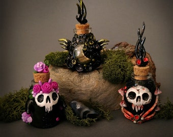 Black Potion Bottles - Halloween decor / Altar item/ Curiosity cabinet