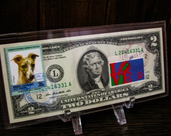 Two Dollar Bill Paper Money Collectible And Stamps 2 Dollars Collection Note UNC Postage Dog Banker Gift Business Decor