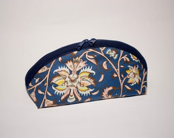 Pencil case cosmetic bag vintage Art Nouveau blue with flowers