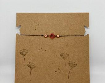 Bracelet rosé shamrock macrame filigree friendship ribbon