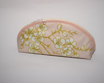 Pencil case ferder bag culture bag pink gold with flowers cosmetic bag