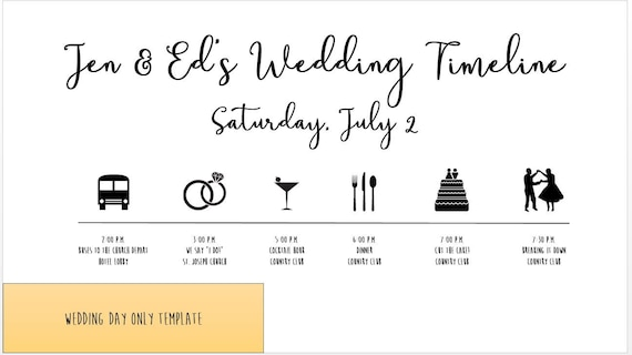 Wedding Timeline Template Diy Edit Customize And Print Your Own Itinerary In Minutes