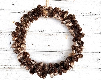 Natural wreath cone wreath gold window decoration for hanging