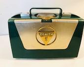 Zenith L505 Vintage 1953 Portable Tube Radio w Wave Magnet Teal Green