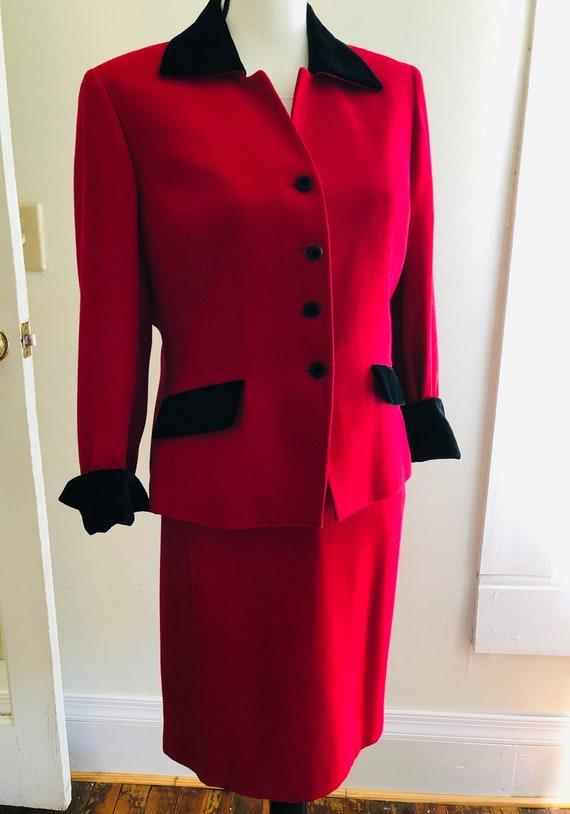 Vintage 80s RED Power Suit Kasper Black Velvet Tri