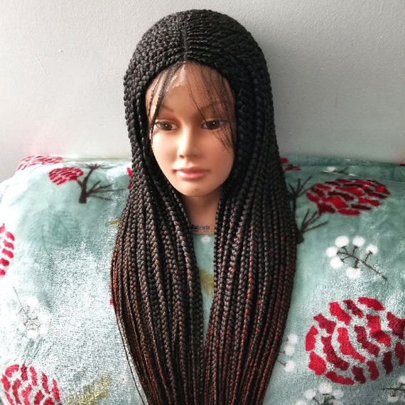 Hand Braided Top Cornrows Box Braids Lace Front Wig Color Etsy