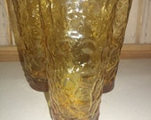Vintage Anchor Hocking Lido Milano Honey Amber Gold Textured Glass Cooler Glasses. Set of 5 Tumblers.