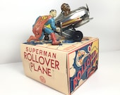VINTAGE MARX SUPERMAN Roll Over Airplane with Box (Chrome Edition)