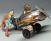 VINTAGE MARX SUPERMAN Roll Over Airplane (Chrome Edition)