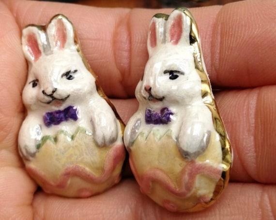 Vintage Hand Painted Porcelain Easter Bunny in Egg Rabbit Earrings