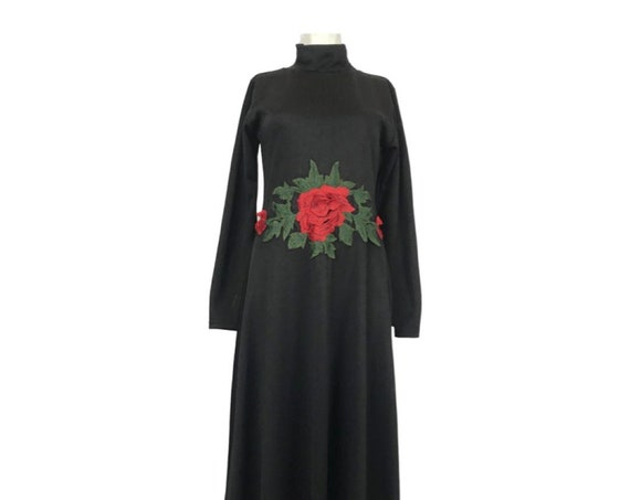Black MIDI Maxi Dress with Rose Embroidery, Gothic Long Sleeved Black Dress with Red Rose, 90s glamour grunge