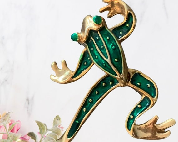Articulated Frog Pin, Green Enamel & Goldtone Frog with Swingy Legs Lapel Pin, Vintage Brooch