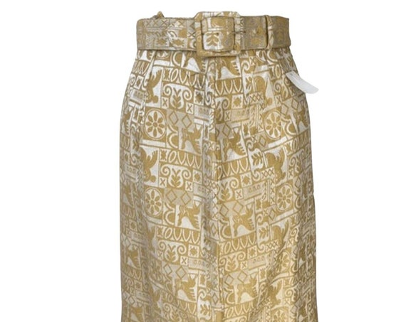 Vintage Pencil Skirt, Golden Tapestry W/ matching Belt size Extra Small, great tween teen vintage clothing, trending sustainable fashion!