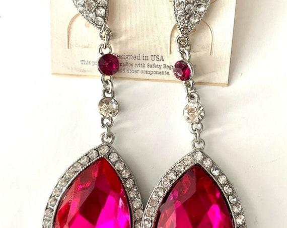 Hot Pink Teardrop Dangles, unworn 90s Glamour Jewelry, still on original card, Big Bold Vintage Statement Earrings