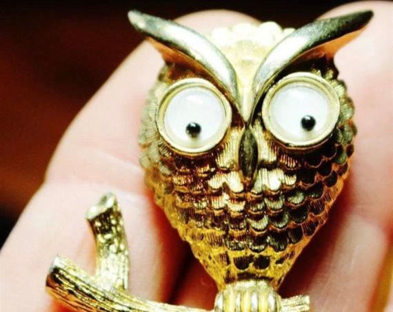 Googly Eyed Owl Pin, Kooky Critter Pin, Vintage Avon Jewelry