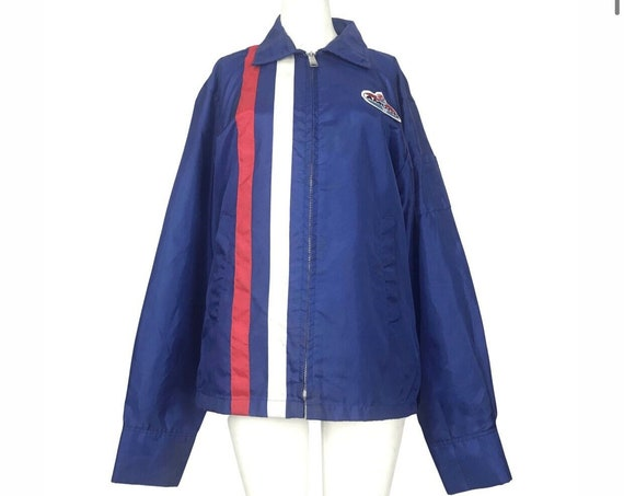 70s Blue Red and White Amoco Gas Station Jacket
