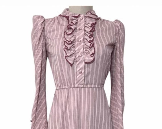 Dusty Rose Sweetheart Dress with Ruffle Front and Poofy Sleeves, Prissy Dainty 70s Holly Hobby, Little House on the Prairie Style Dress