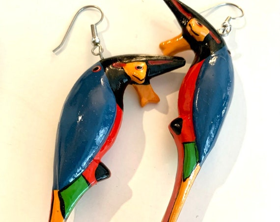 King Fisher Dangles vintage artisan handpainted and Carved Bird Statement Earrings, Tropical Boho Tribal Jewelry!