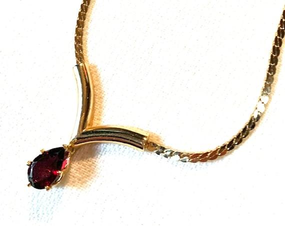 Garnet Rhinestone Pendant On Gold Chain Unworn 70s Disco Vintage Minimalist Necklace