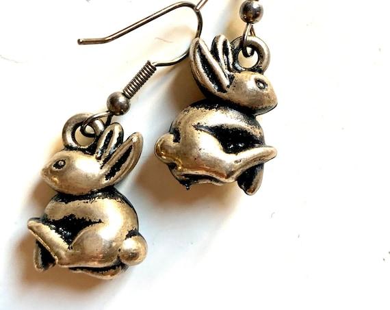 Bunny Earrings!  Antiqued Pewter Tone Minimalist Rabbit Dangles