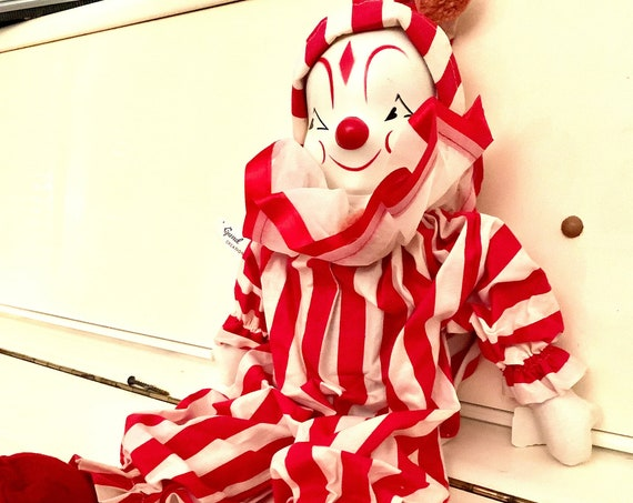 1960s Vintage GUND Clown in Red And White Striped Clownsuit, Vinyl Faced Collectors Doll