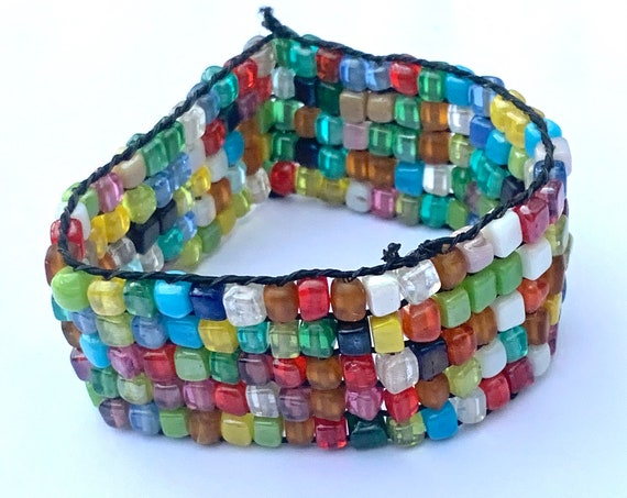 Vintage Artisan Rainbow Glass Beaded Cuff