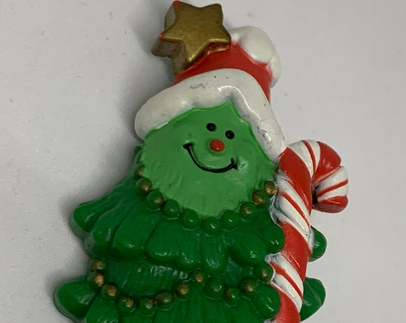 Wacky Vintage Hallmark Christmas Tree in Santa Hat with Candy Cane Christmas Holiday Pin
