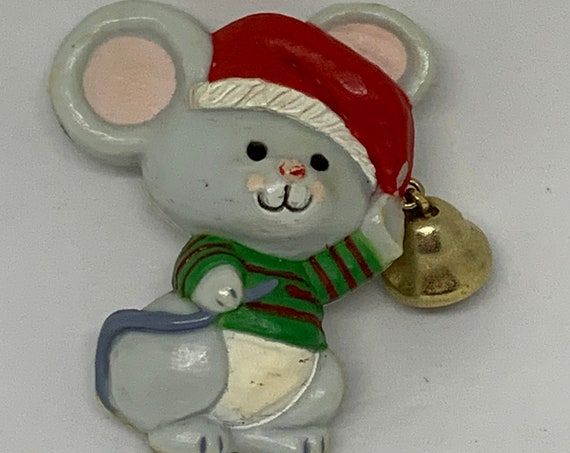 Adorable SANTA Mouse with Bell Critter Pin Vintage Hallmark Cards Holiday Christmas Pin