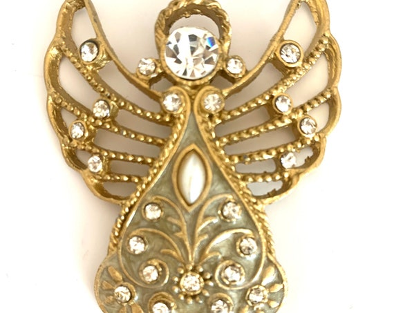 Make Your Own Necklace- Golden Angel Rhinestone & Faux Pearl Pendant, Vintage 70s 80s  Costume Jewelry, Holiday or Sentimental Gift