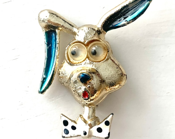 Googly Eyed Rabbit Pin, Big Eye Comic Long Eared Bunny Wearing a Polka Dot Bow Tie, Highly Collectible Kitsch Costume Jewelry