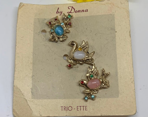 Vintage Jelly Belly Trio of Bird Figural Tac Pin, Spring  Easter Pastels, Cute for Baby Shower !