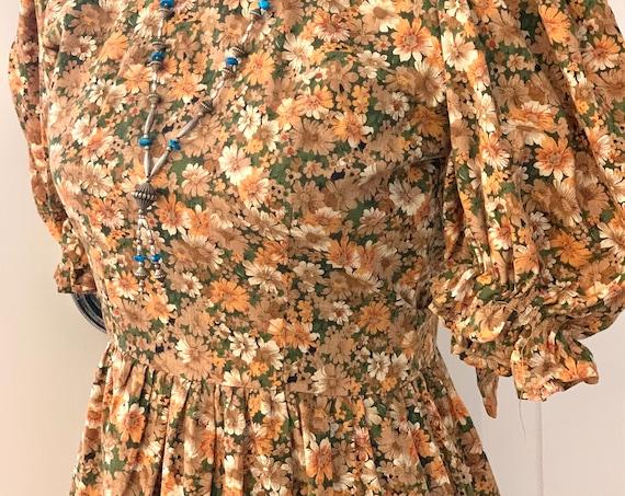 Vintage Calico Holly Hobby Prairie Dress with Ruffles and Girlie Cap Sleeves, Handmade Tween Teen Maxi Dress, Perfect flower girl dress!