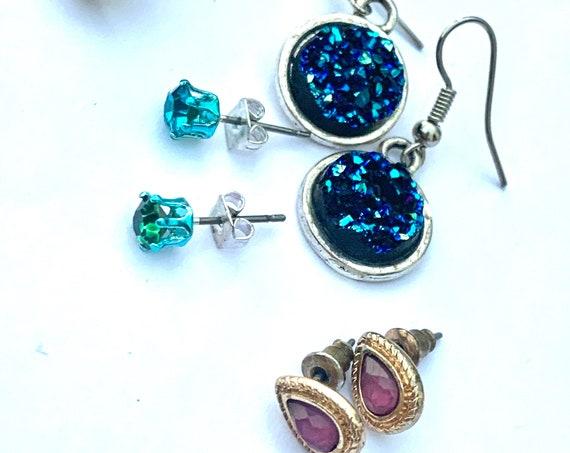 Vintage Tween Teen Jewelry Lot, 4 pairs of sparkly earrings