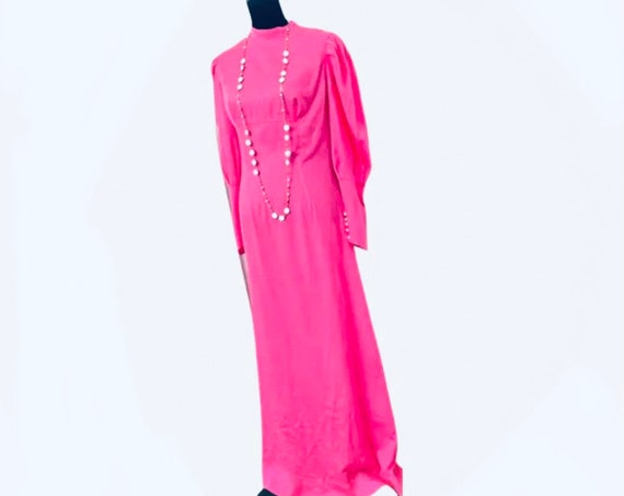 Vintage Hot Pink Maxi Dress, Victorian Prairie Style Bridesmaid Dress or Cheerful Zoom Wedding Gown!