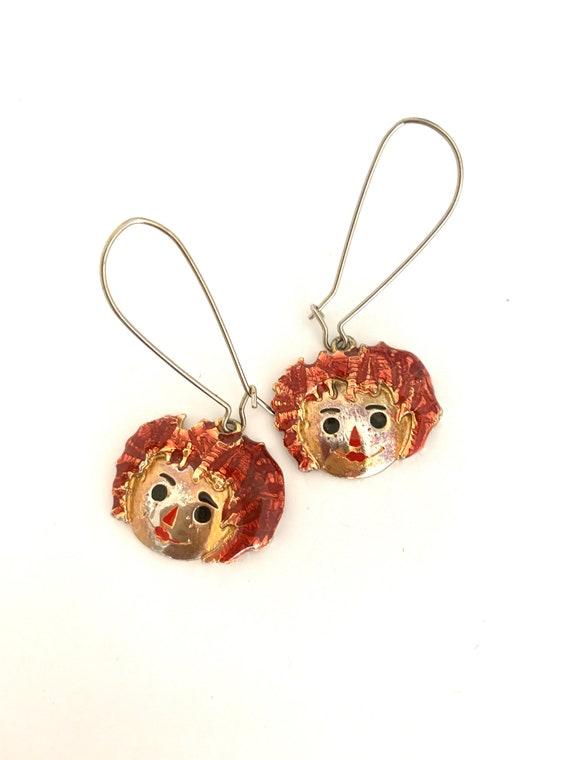 Vintage Raggedy Ann Earrings, Orange Enamel on Goldtone Doll Face Charms on Long Ear wires