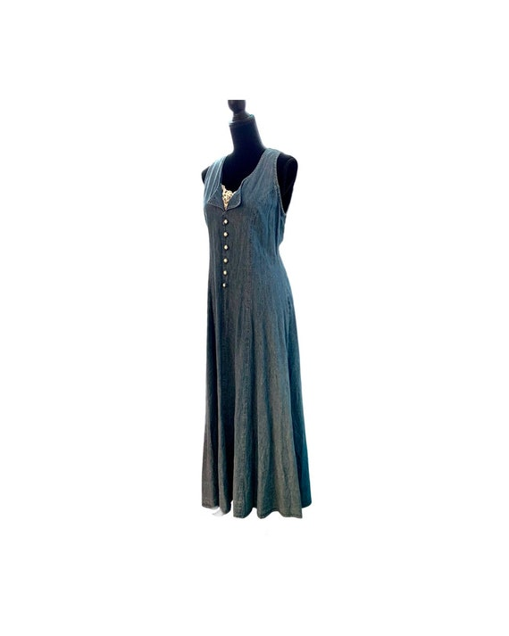 Vintage Denim Dress with Lacy Insert and Curvy Corset Lace Up Back , 90s Country Cottage Ankle Length Jody California Size 9/10